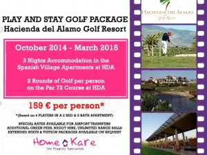 Play and Stay with 3 Nights accommodation in the Spanish Village Apartments in Hacienda Del Álamo.