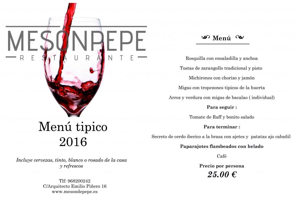 menu tipico 25 €